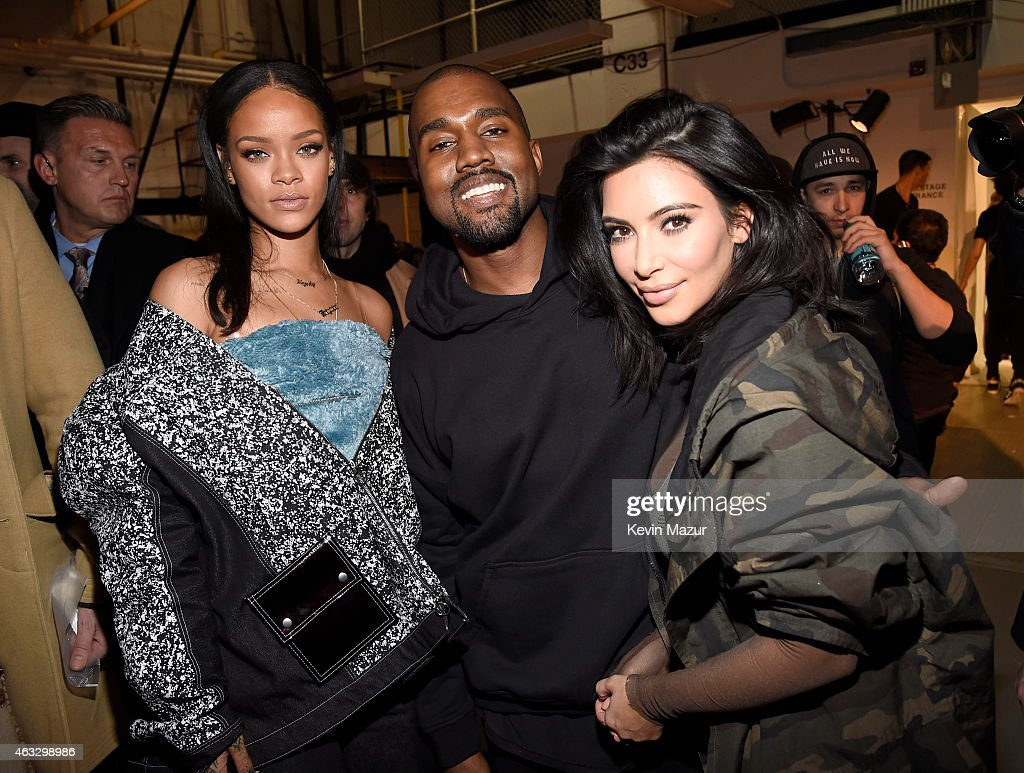 Rihanna, Kanye West and Kim Kardashian backstage at the adidas Originals x Kanye West YEEZY SEASON 1 fashion show during New York Fashion Week Fall 2015 at Skylight Clarkson Sq on February 12, 2015 in New York City.