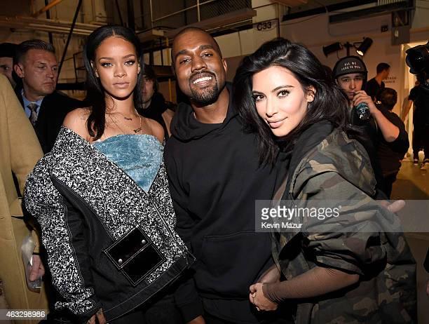 Rihanna Kanye West and Kim Kardashian backstage at the adidas Originals x Kanye West YEEZY SEASON 1 fashion show during New York Fashion Week Fall...