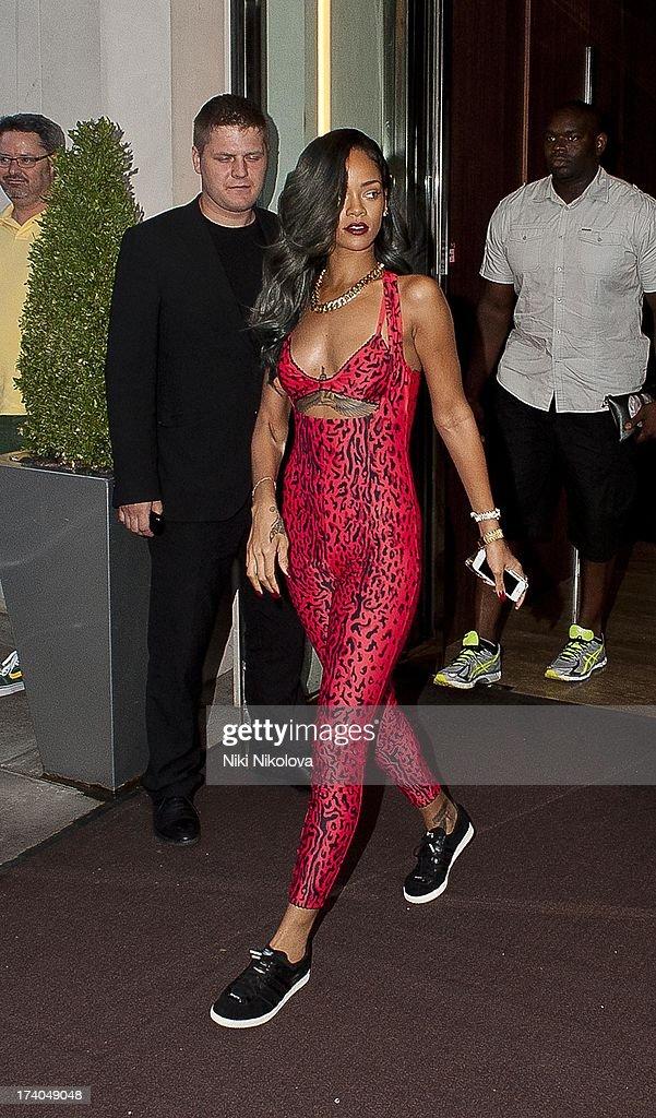 Rihanna Leaving 45 Park Lane on July 19, 2013 in London, England.