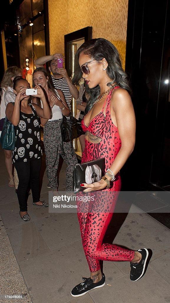 Rihanna Leaving Roberto Cavalli store, Sloan Street on July 19, 2013 in London, England.