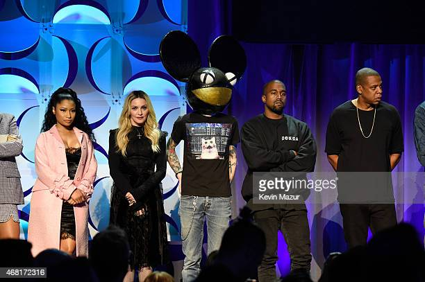 Rihanna Nicki Minaj Madonna Deadmau5 and Kanye West attend the Tidal launch event #TIDALforALL at Skylight at Moynihan Station on March 30 2015 in...
