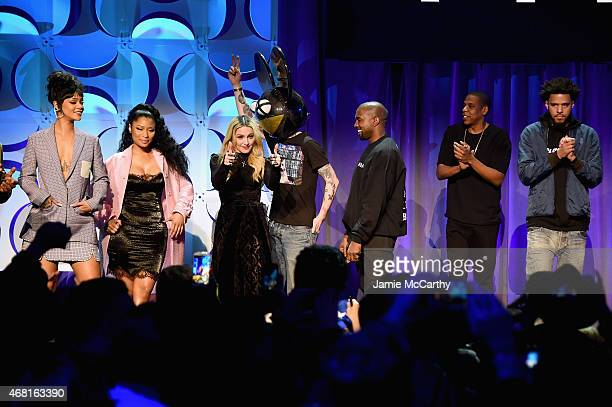 Rihanna Nicki Minaj Madonna Deadmau5 Kanye West JAY Z and J Cole onstage at the Tidal launch event #TIDALforALL at Skylight at Moynihan Station on...
