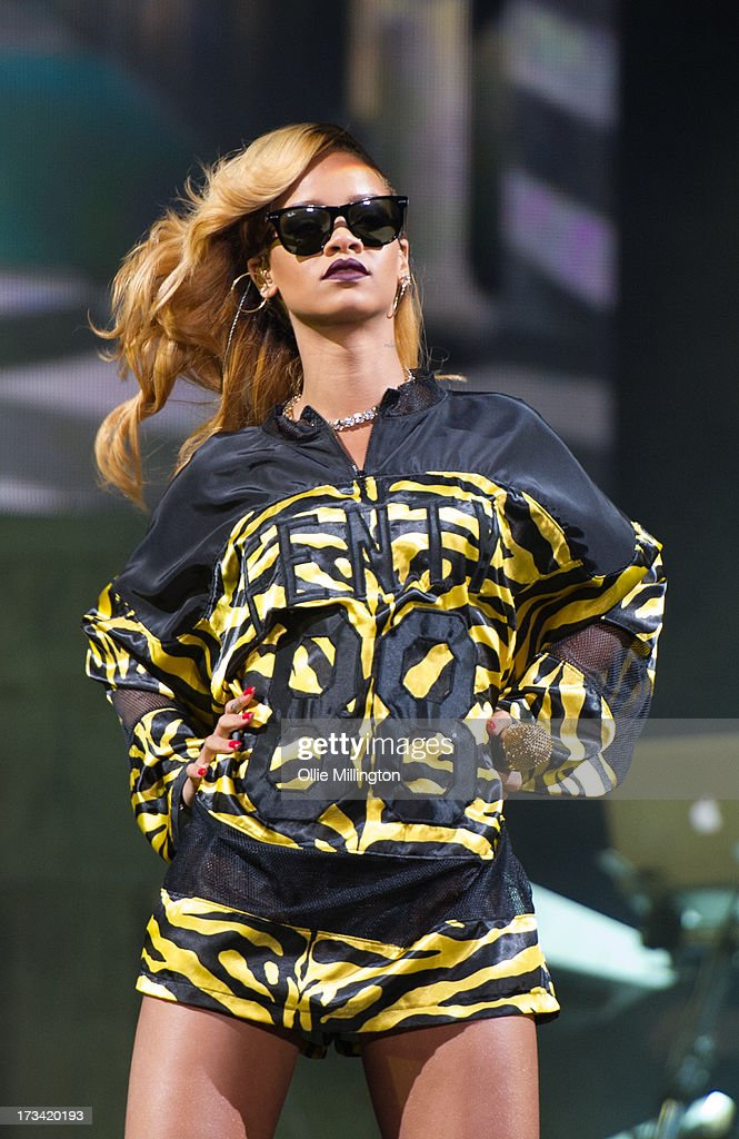 Rihanna performs at Day 2 of the T in the Park festival at Balado on July 13, 2013 in Kinross, Scotland.