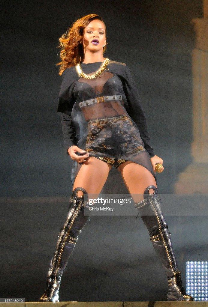 Rihanna performs at Philips Arena on April 22, 2013 in Atlanta, Georgia.