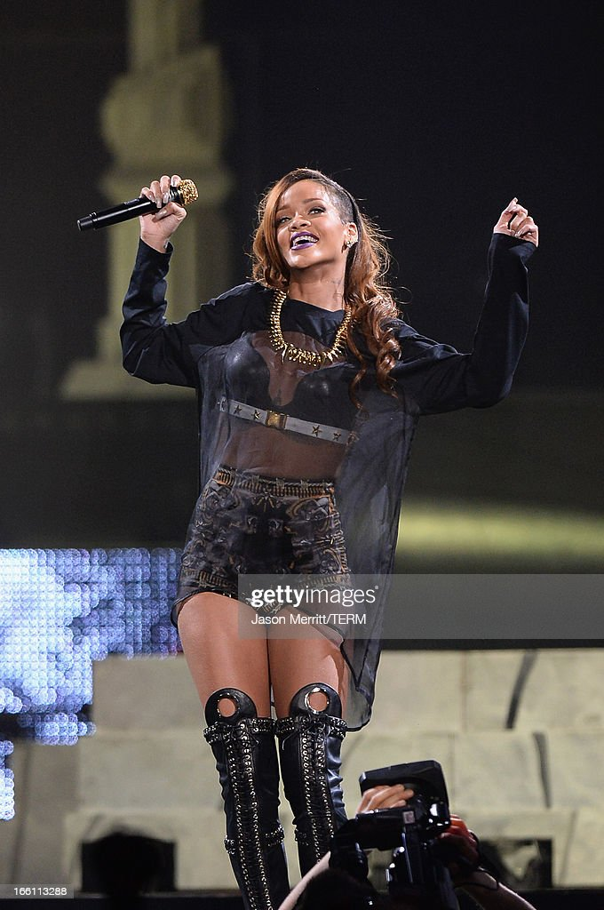 Rihanna performs at Staples Center on April 8, 2013 in Los Angeles, California.