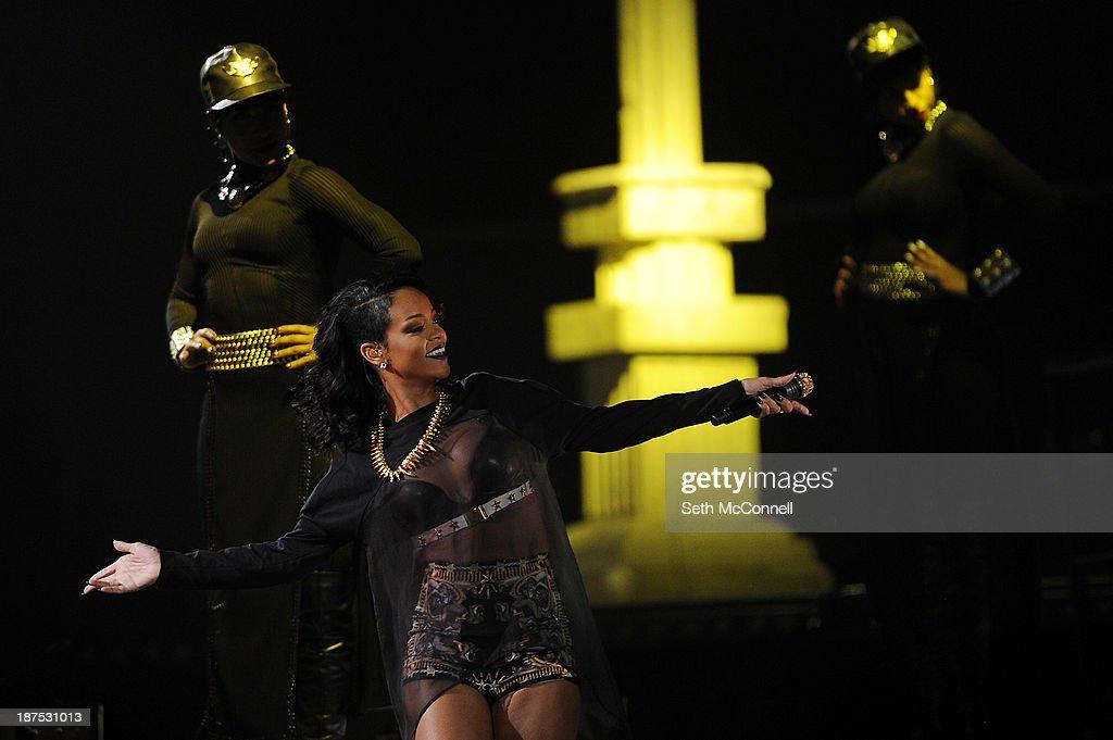 Rihanna performs at the Pepsi Center in Denver, Colorado on November 9, 2013.