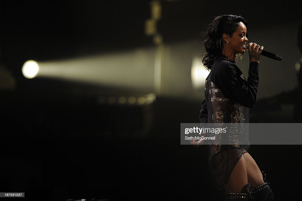 Rihanna performs at the Pepsi Center in Denver, Colorado on November 9, 2013.