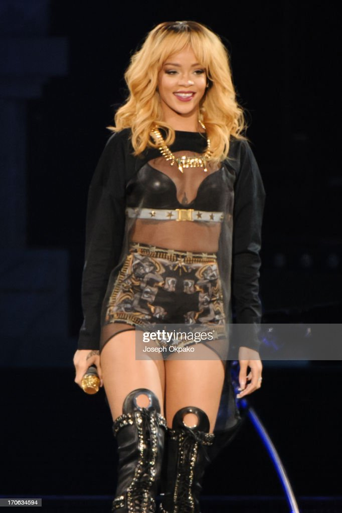Rihanna performs at Twickenham Stadium on June 15, 2013 in London, England.