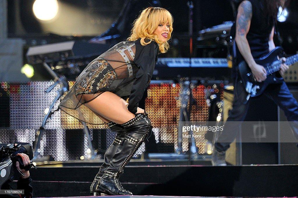 Rihanna performs at Twickenham Stadium on June 16, 2013 in London, England.