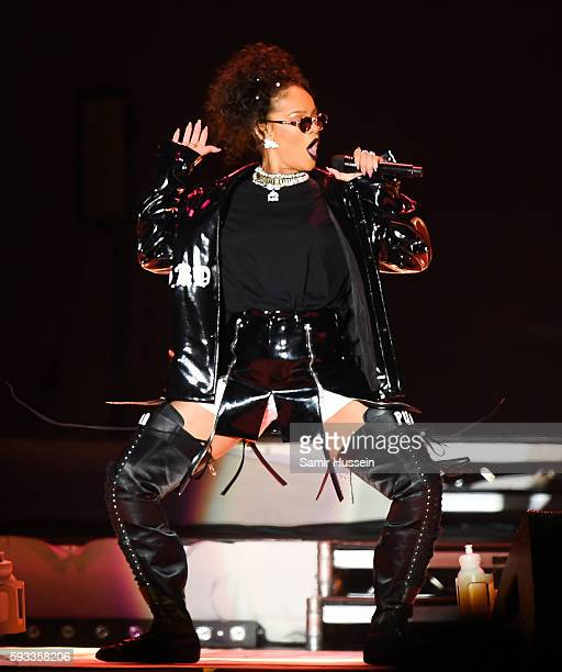 Rihanna performs at V Festival at Hylands Park on August 21 2016 in Chelmsford England