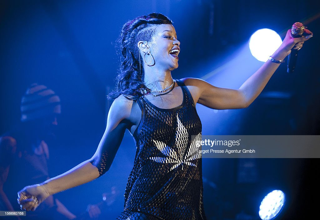 Rihanna performs during her 777 tour at E-Werk on November 18, 2012 in Berlin, Germany.