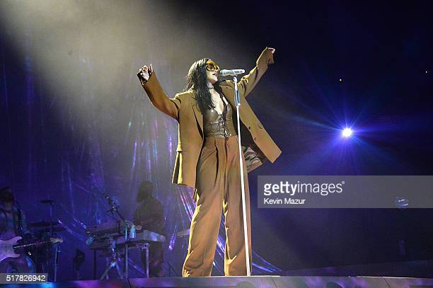 Rihanna performs during her 'Anti World Tour' at Barclays Center of Brooklyn on March 27 2016 in New York City