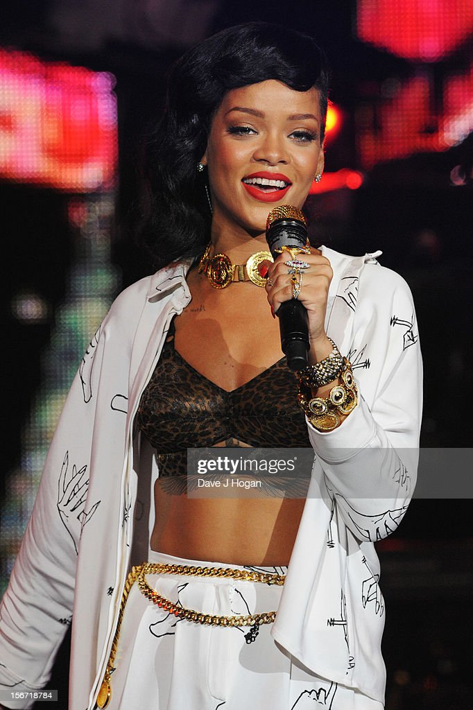 <a gi-track='captionPersonalityLinkClicked' href=/galleries/search?phrase=Rihanna&family=editorial&specificpeople=453439 ng-click='$event.stopPropagation()'>Rihanna</a> performs for the London leg of her 777 tour at Kentish Town Forum on November 19, 2012 in London, England.
