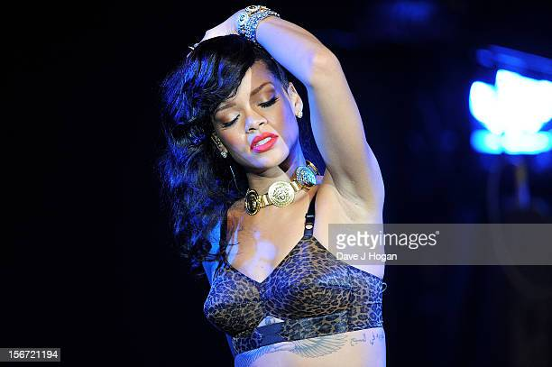 Rihanna performs for the London leg of her 777 tour at Kentish Town Forum on November 19 2012 in London England