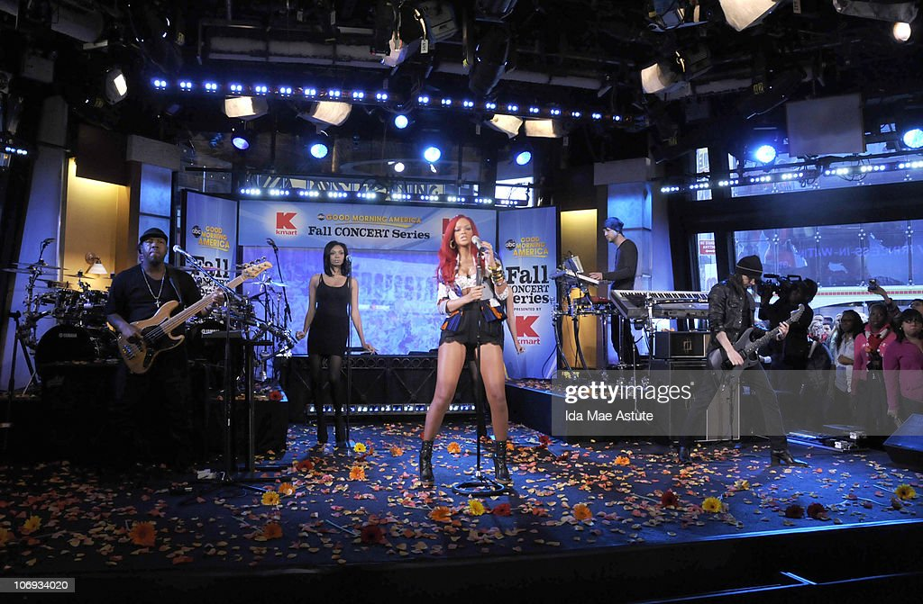 AMERICA - Rihanna performs live as part of the GMA Fall Concert Series, on GOOD MORNING AMERICA, 11/17/10 airing on the ABC Television Network. GM10 (Photo by Ida Mae Astute/ABC via Getty Images) RIHANNA
