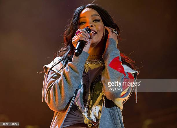 Rihanna performs live onstage at White River State Park on April 4 2015 in Indianapolis Indiana