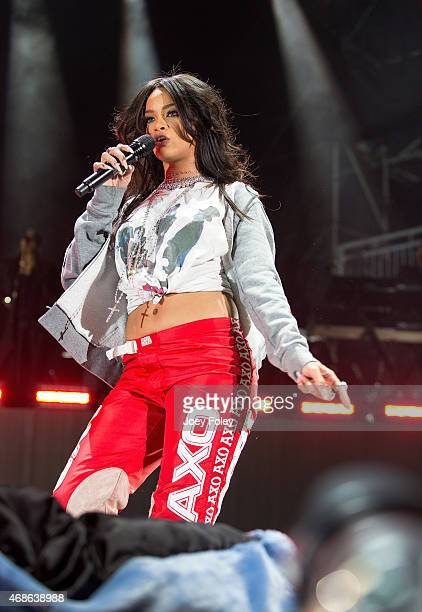 Rihanna performs live onstage at Whiteriver State Park on April 4 2015 in Indianapolis Indiana