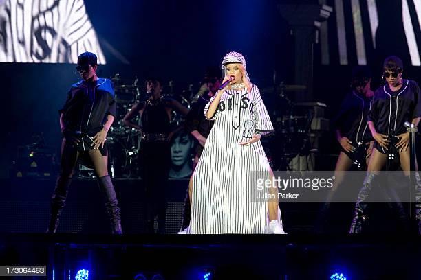 Rihanna performs on Day 2 of the Roskilde Festival on July 5 2013 in Roskilde Denmark