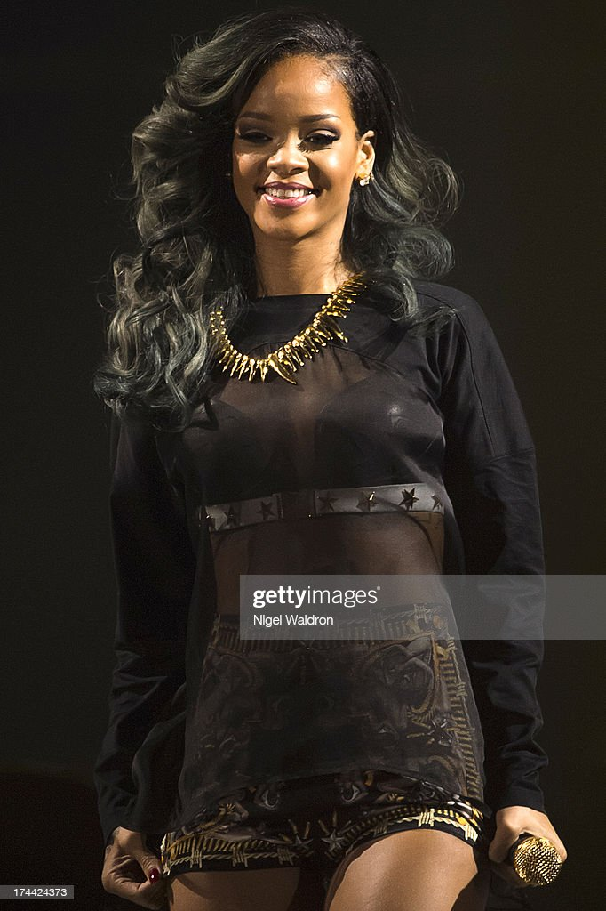 Rihanna performs on stage at Telenor Arena during The Diamonds World Tour 2013 on July 25, 2013 in Oslo, Norway.