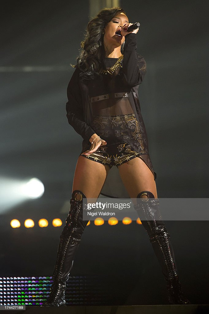 Rihanna performs on stage at Telenor Arena during The Diamonds World Tour 2013. in Oslo, Norway.