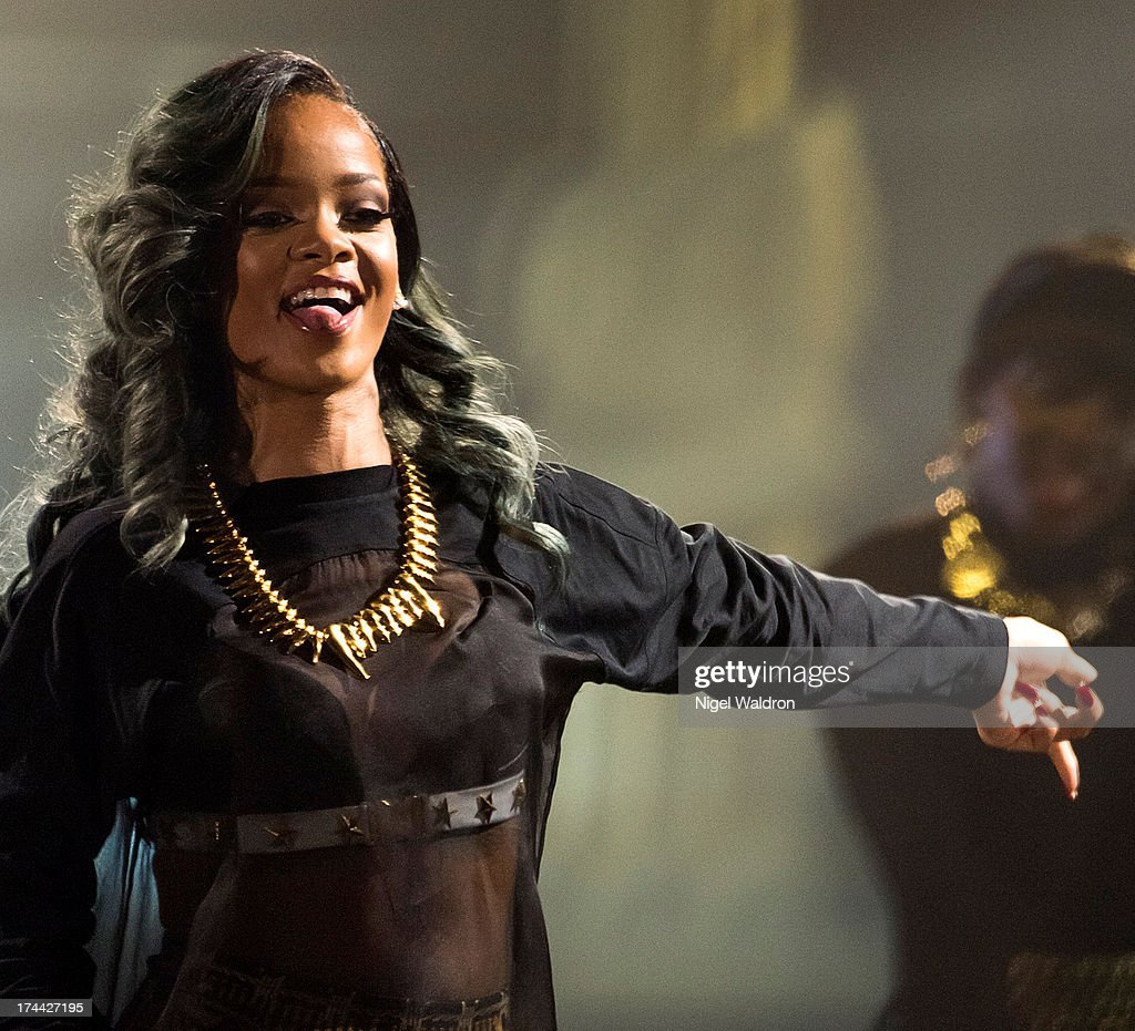 Rihanna performs on stage at Telenor Arena during The Diamonds World Tour 2013 in Oslo, Norway.