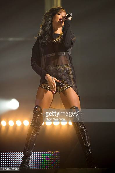 Rihanna performs on stage at Telenor Arena during The Diamonds World Tour 2013 in Oslo Norway