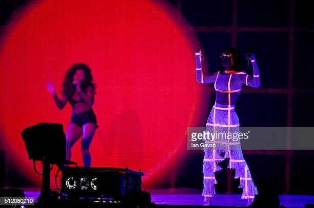 Rihanna performs on stage at the BRIT Awards 2016 at The O2 Arena on February 24 2016 in London England