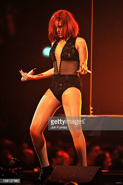 Rihanna performs on stage at the The BRIT Awards 2011 at O2 Arena on February 15 2011 in London England