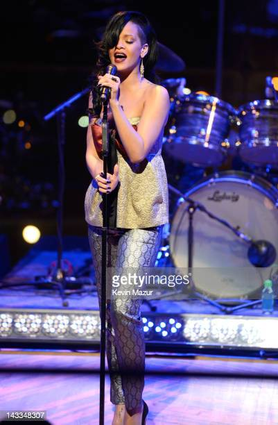 Rihanna performs on stage at the TIME 100 Gala celebrating TIME'S 100 Most Infuential People In The World at Jazz at Lincoln Center on April 24 2012...