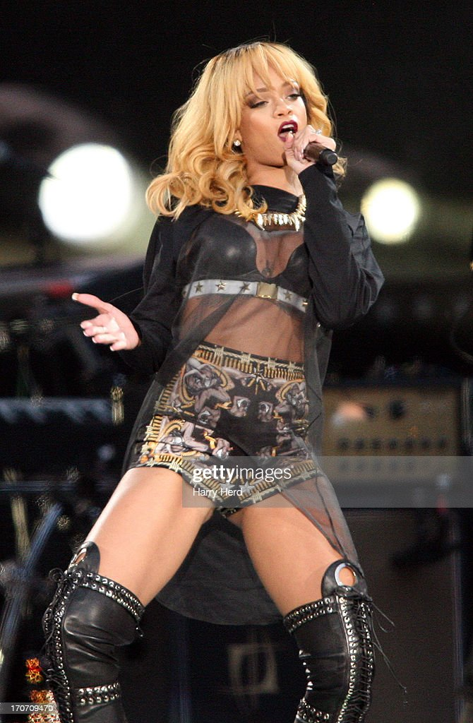 Rihanna performs on stage at Twickenham Stadium on June 16, 2013 in London, England.