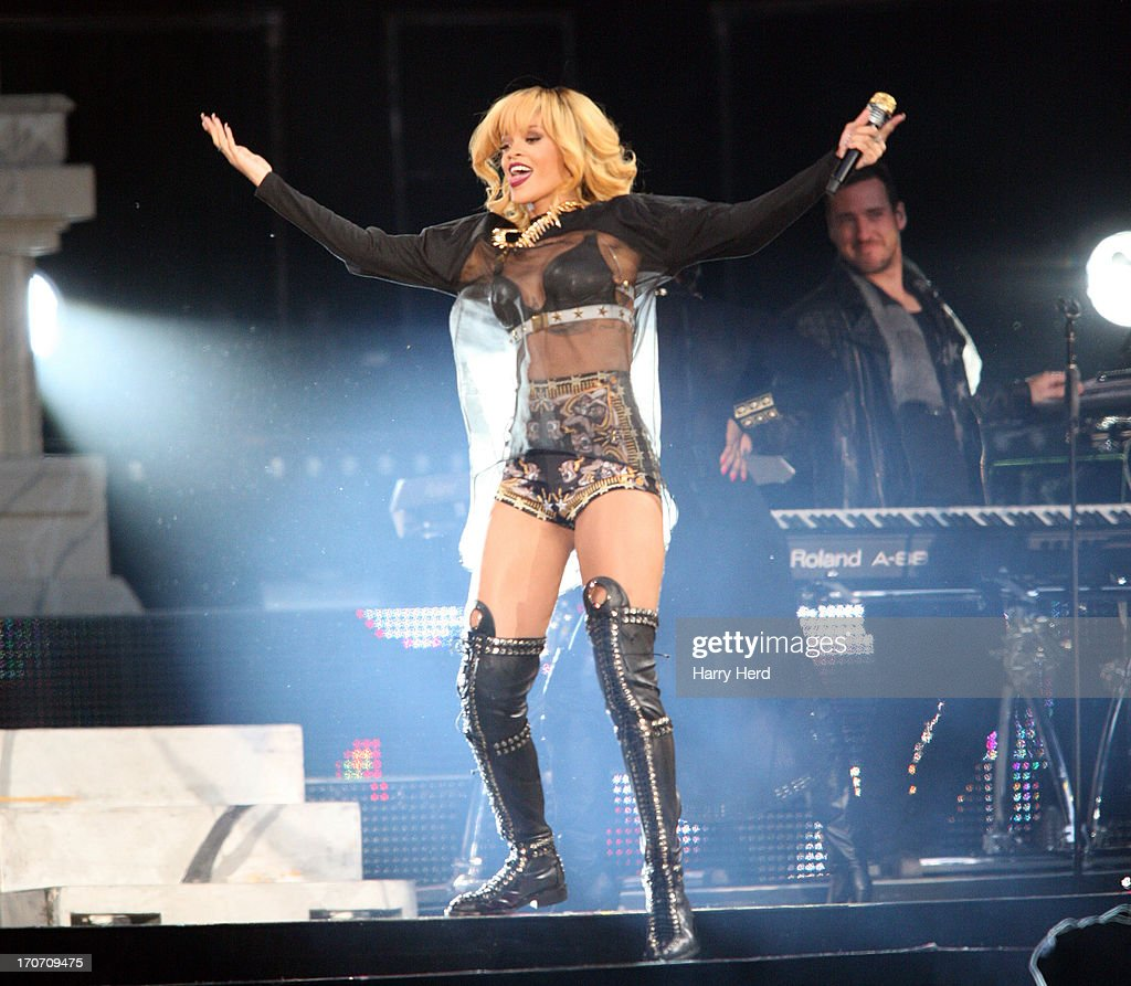 Rihanna performs on stage at Twickenham Stadium on June 16, 2013 in London, England.