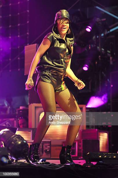 Rihanna performs on stage during day two of BBC Radio 1's Big Weekend on May 23 2010 in Bangor Wales