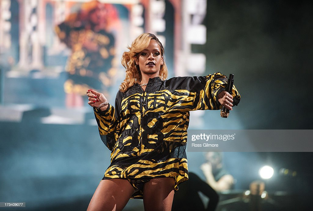Rihanna performs on stage on Day 2 of T In The Park 2013 at Balado on July 13 2013 in Kinross Scotland