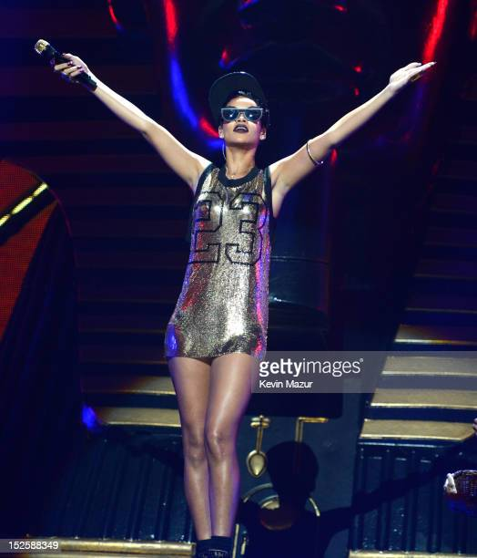 Rihanna performs onstage during the 2012 iHeartRadio Music Festival at MGM Grand Garden Arena on September 21 2012 in Las Vegas Nevada