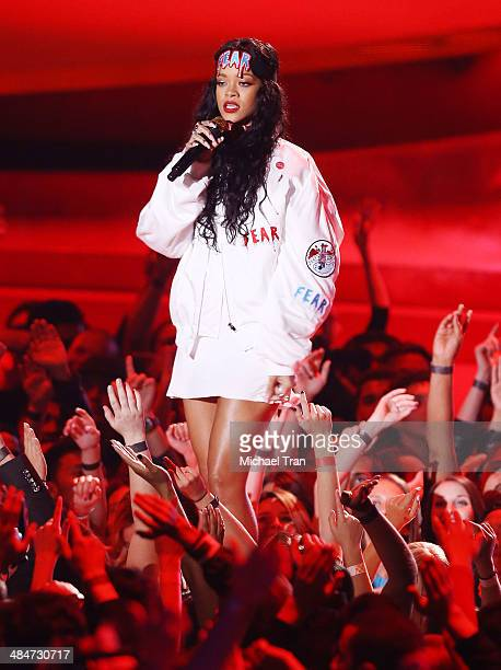Rihanna performs onstage during the 2014 MTV Movie Awards held at Nokia Theatre LA Live on April 13 2014 in Los Angeles California