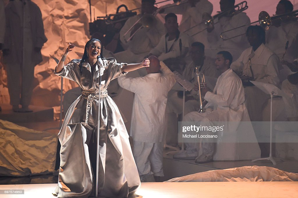 Rihanna performs onstage during the 2016 MTV Music Video Awards at Madison Square Gareden on August 28 2016 in New York City