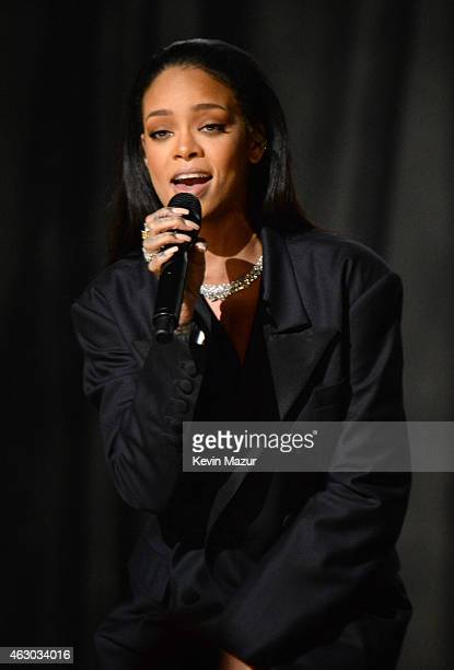 Rihanna performs onstage during The 57th Annual GRAMMY Awards at the STAPLES Center on February 8 2015 in Los Angeles California