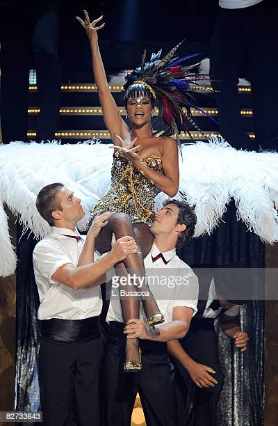 Rihanna performs performs on stage during the Conde Nast Media Group's Fifth Annual Fashion Rocks at Radio City Music Hall on September 5 2008 in New...