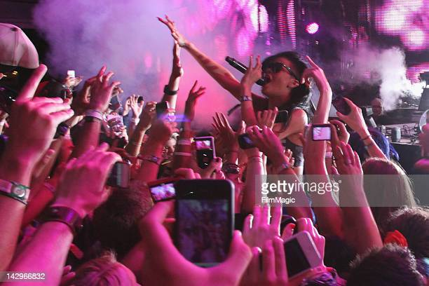 Rihanna performs 'We Found Love' with Calvin Harris at a surprise appearance during the 2012 Coachella Valley Music Arts Festival at The Empire Polo...
