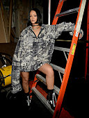 Rihanna poses backstage at the FENTY PUMA by Rihanna AW16 Collection during Fall 2016 New York Fashion Week at 23 Wall Street on February 12 2016 in...