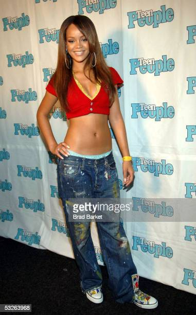 Rihanna poses for a picture at the Shawn 'JayZ' Carter Hosts Teen People Listening Lounge at the Canal Room on July 20 2005 in New York City