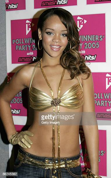 Rihanna poses in the press room at the T4 Poll Winners' Party 2005 With Smash Hits at Wembley Arena Pavilion on November 20 2005 in London England...