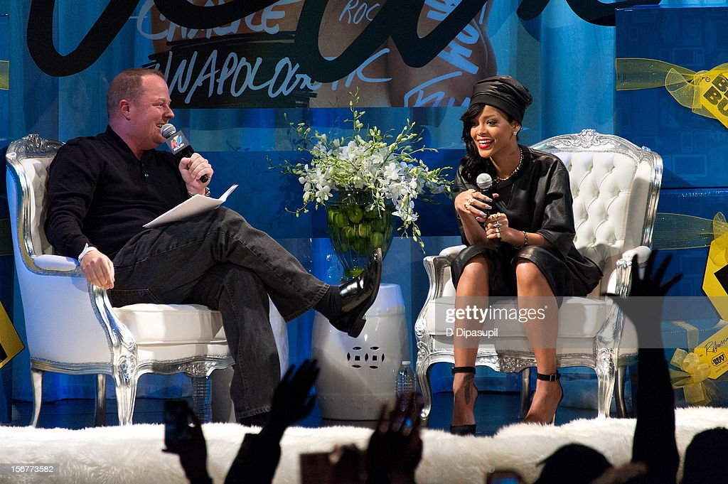 Rihanna (R) promotes 'Unapologetic' at Best Buy Theater on November 20, 2012 in New York City.
