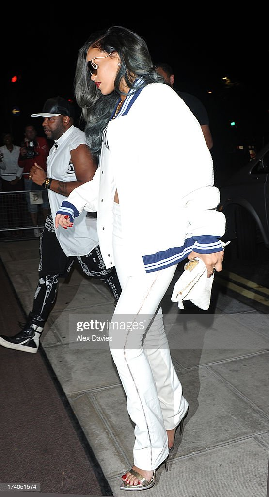 Rihanna seen leaving Cirque du Soir Nightclub on July 20, 2013 in London, England.