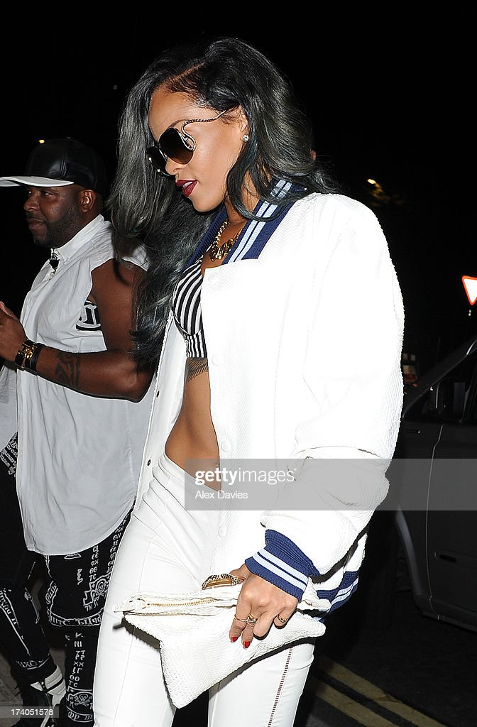 <a gi-track='captionPersonalityLinkClicked' href=/galleries/search?phrase=Rihanna&family=editorial&specificpeople=453439 ng-click='$event.stopPropagation()'>Rihanna</a> seen leaving Cirque du Soir Nightclub on July 20, 2013 in London, England.