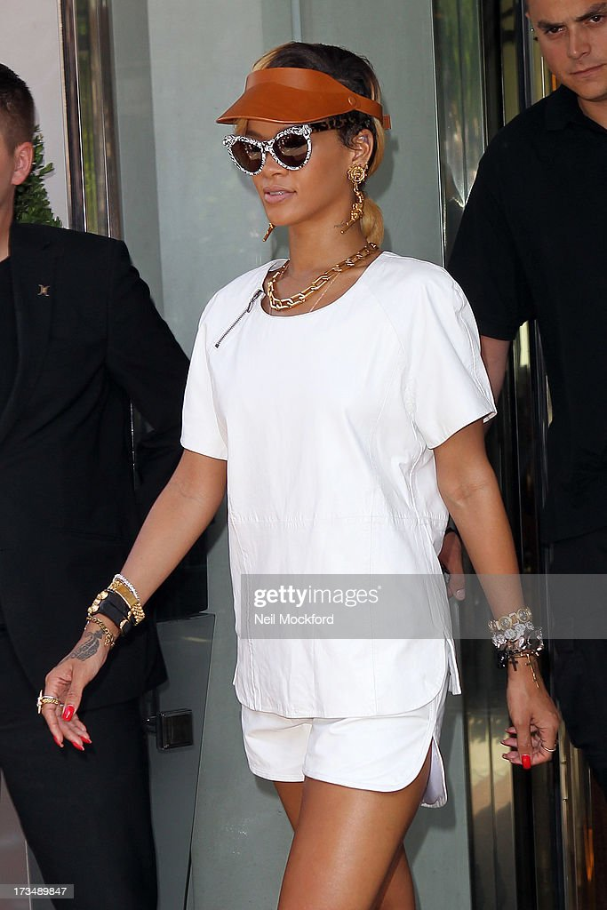 Rihanna seen leaving her hotel on July 15, 2013 in London, England.