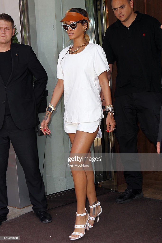 <a gi-track='captionPersonalityLinkClicked' href=/galleries/search?phrase=Rihanna&family=editorial&specificpeople=453439 ng-click='$event.stopPropagation()'>Rihanna</a> seen leaving her hotel on July 15, 2013 in London, England.
