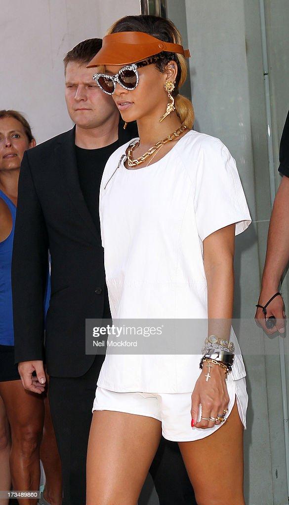 Rihanna seen leaving her hotel on July 15, 2013 in London, England.