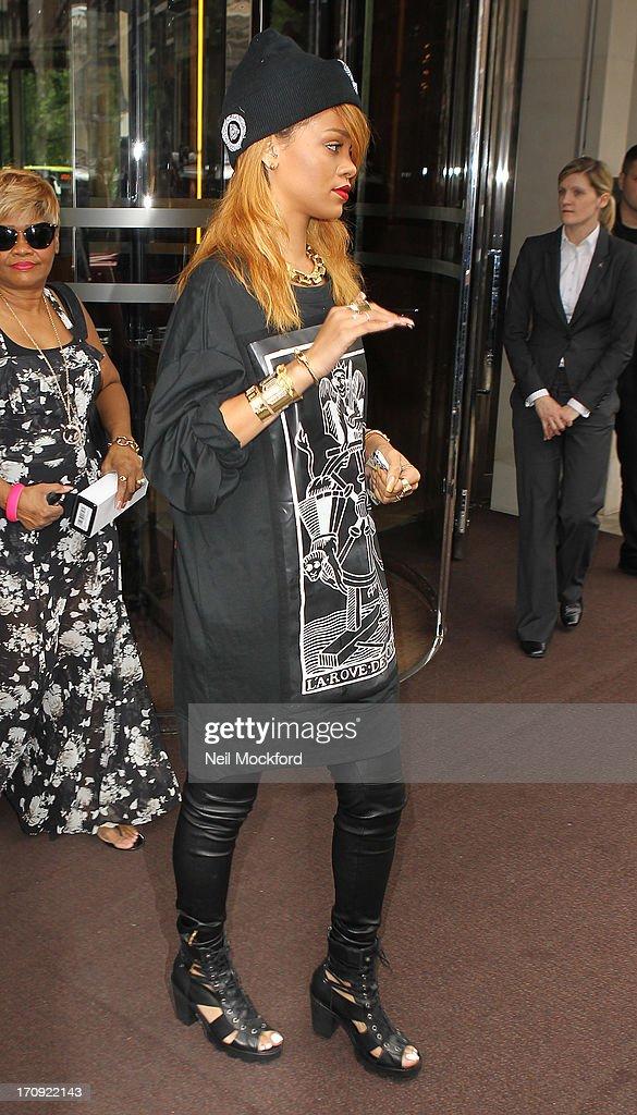 Rihanna seen leaving her hotel on June 20, 2013 in London, England.