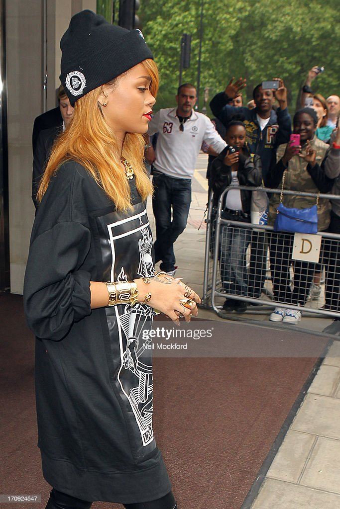 Rihanna seen leaving her hotel on June 20, 2013 in London, England.